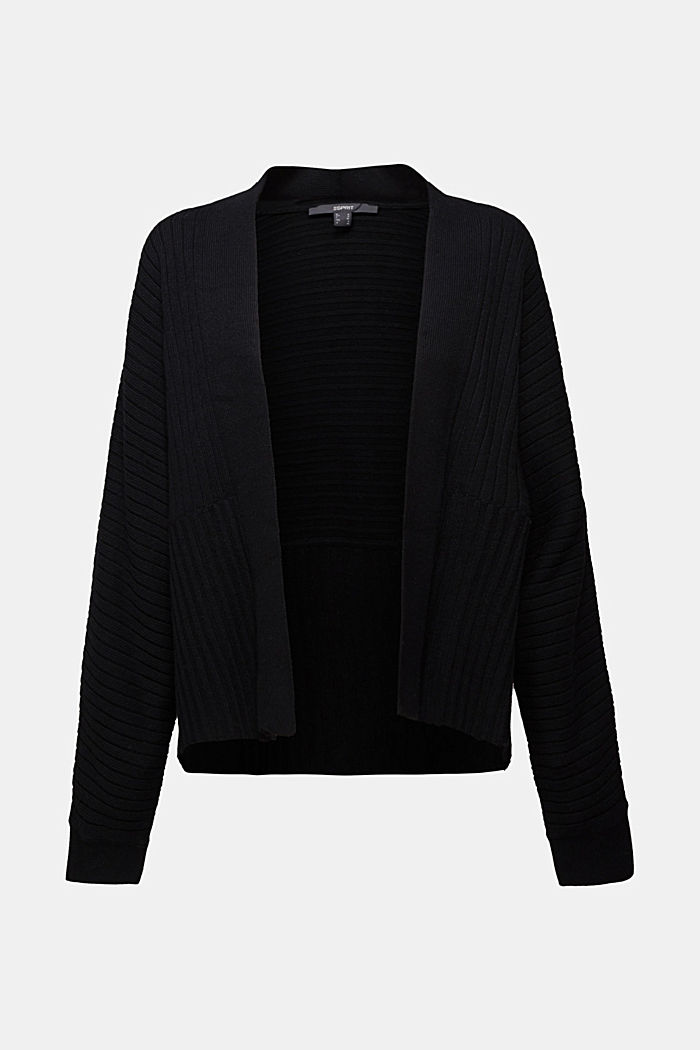 With cashmere: Rib knit cardigan, BLACK, detail image number 6