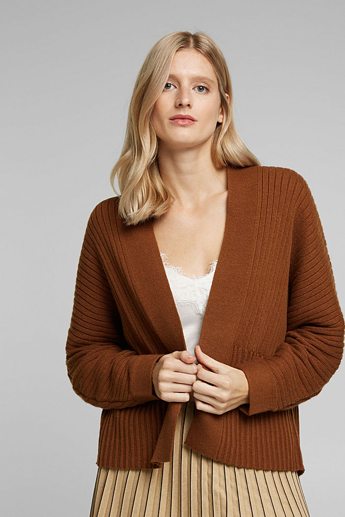 With cashmere: Rib knit cardigan
