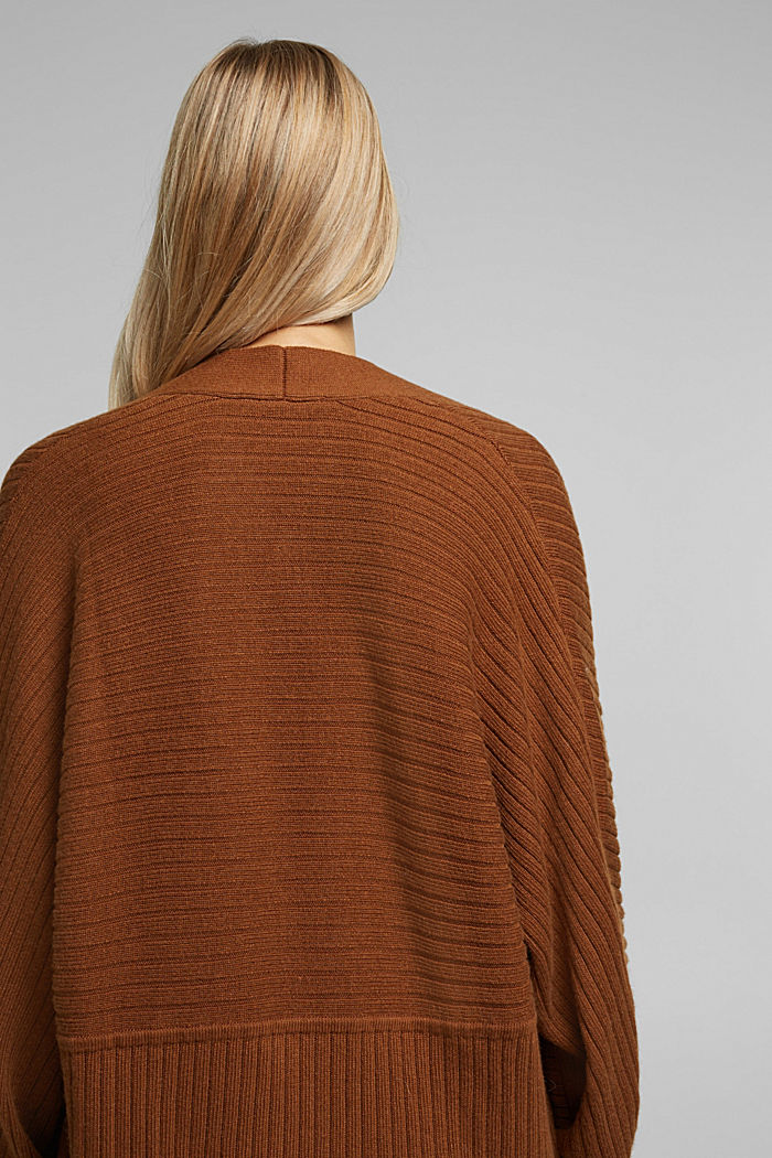 With cashmere: Rib knit cardigan, TOFFEE, detail image number 3