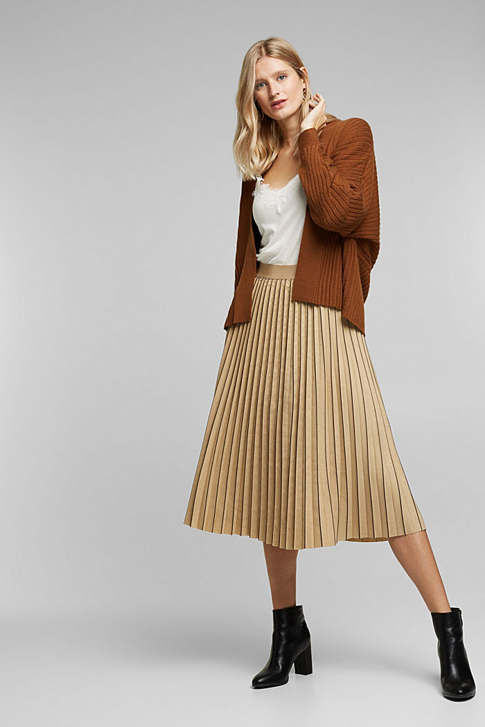 With cashmere: Rib knit cardigan, TOFFEE, detail image number 1