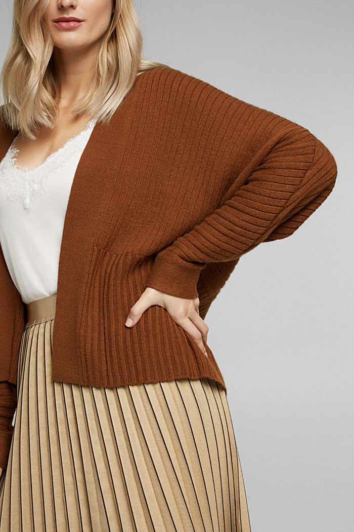 With cashmere: Rib knit cardigan, TOFFEE, detail image number 2