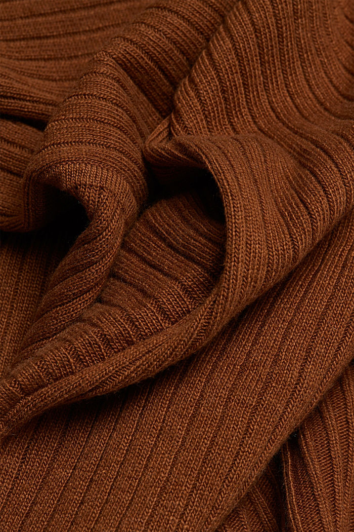 With cashmere: Rib knit cardigan, TOFFEE, detail image number 4