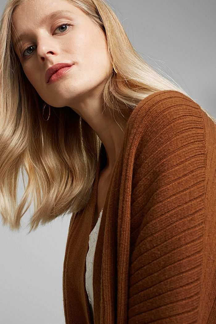With cashmere: Rib knit cardigan, TOFFEE, detail image number 5