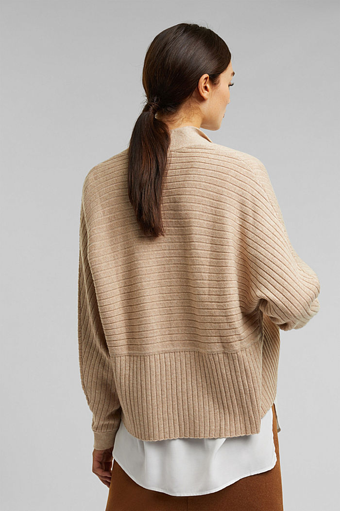 With cashmere: Rib knit cardigan, BEIGE, detail image number 3