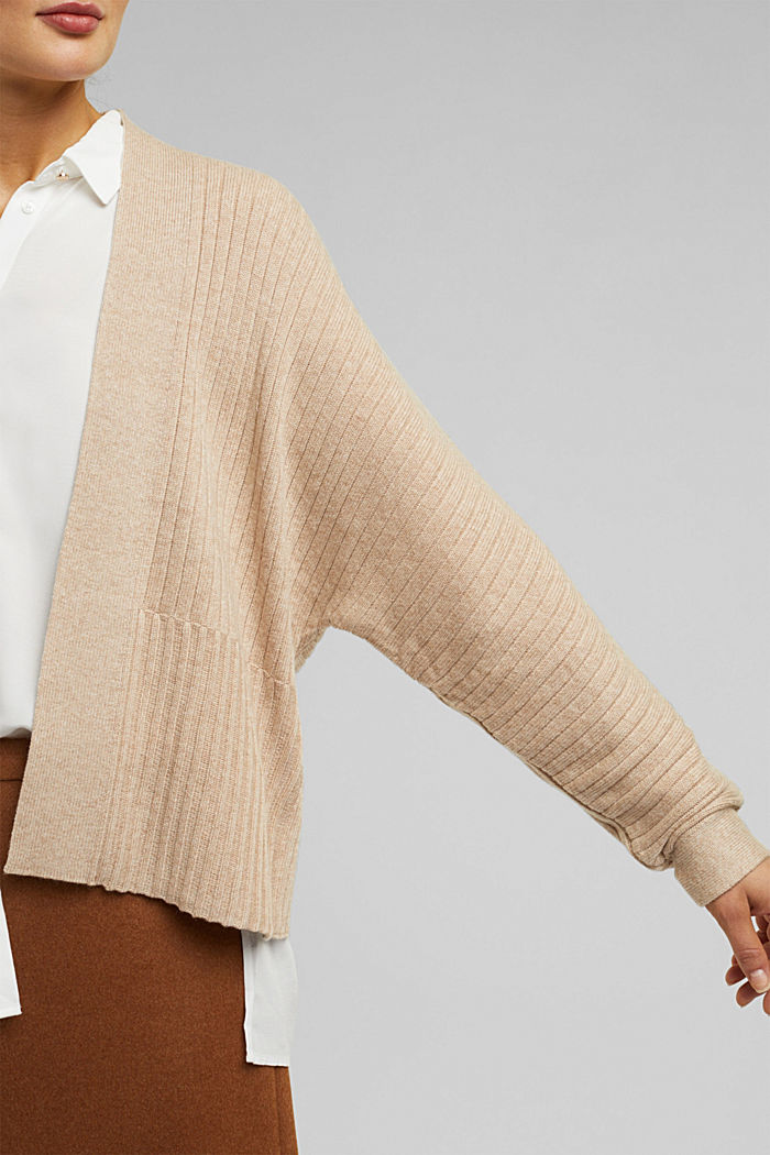 With cashmere: Rib knit cardigan, BEIGE, detail image number 2