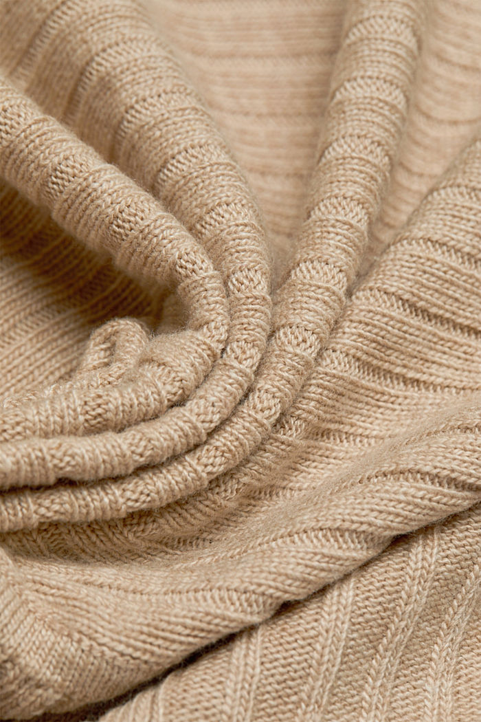 With cashmere: Rib knit cardigan, BEIGE, detail image number 4