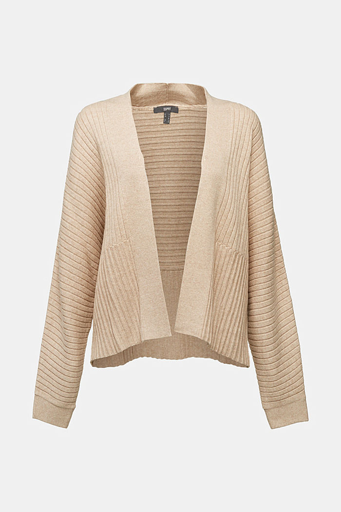 With cashmere: Rib knit cardigan, BEIGE, detail image number 6