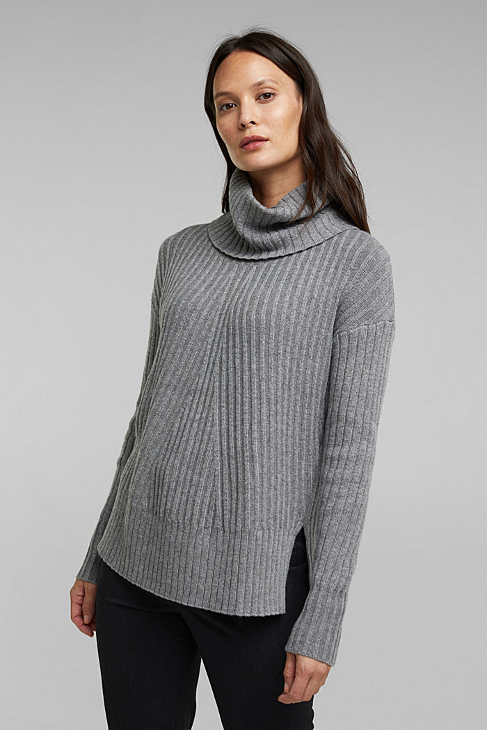 With a touch of cashmere: cotton blend jumper, GUNMETAL, overview