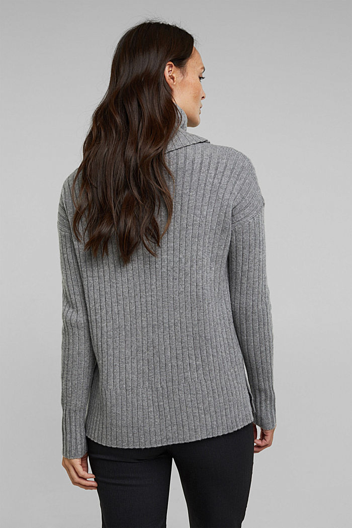 With a touch of cashmere: cotton blend jumper, GUNMETAL, detail image number 3