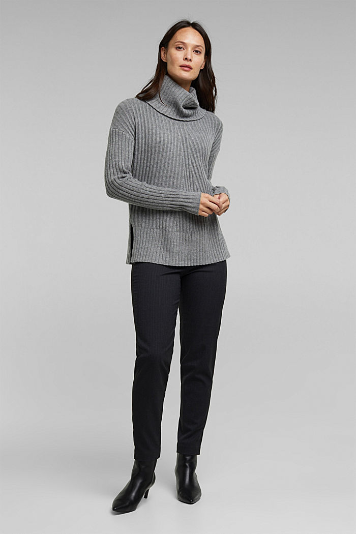 With a touch of cashmere: cotton blend jumper, GUNMETAL, detail image number 1