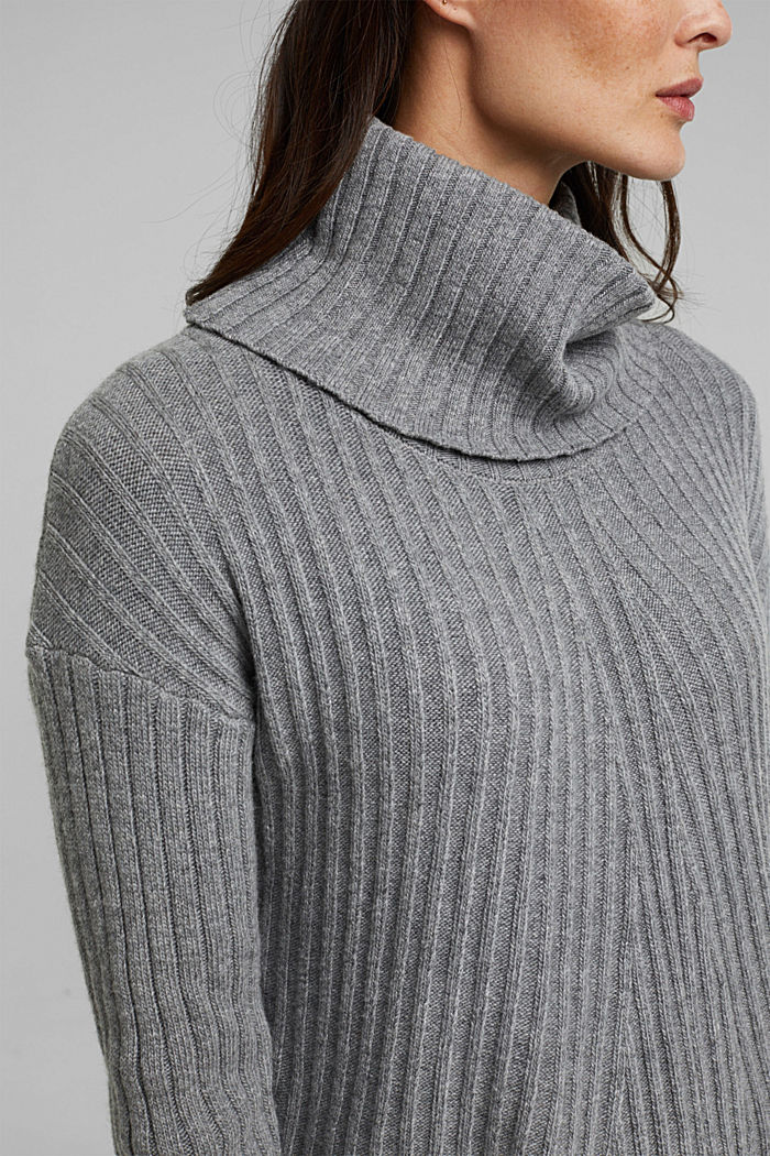 With a touch of cashmere: cotton blend jumper, GUNMETAL, detail image number 2