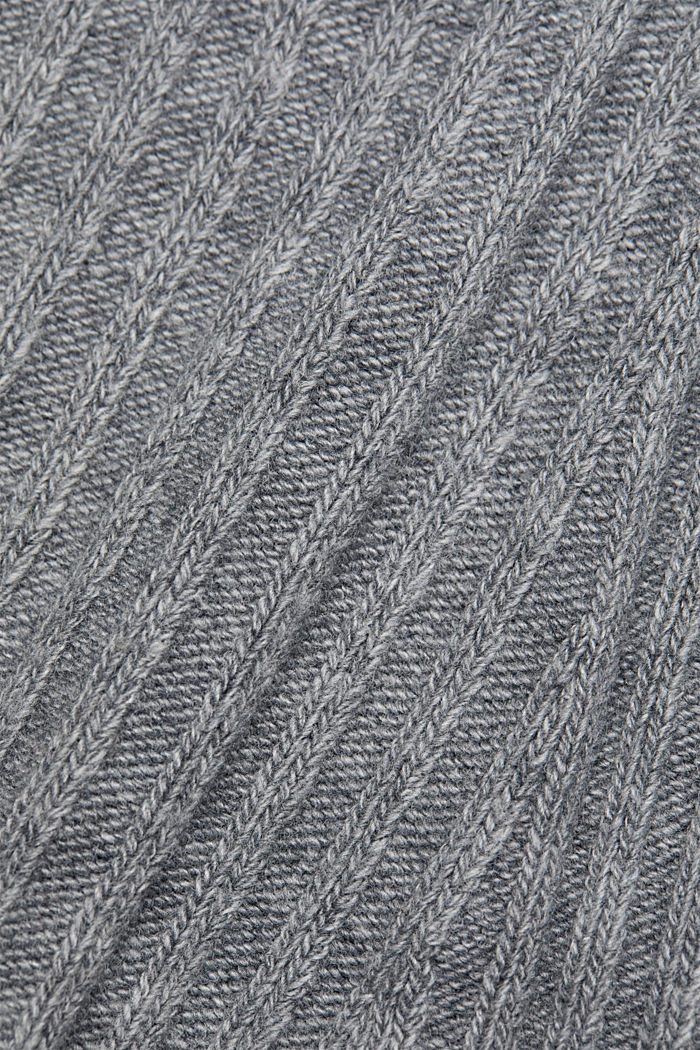 With a touch of cashmere: cotton blend jumper, GUNMETAL, detail image number 4
