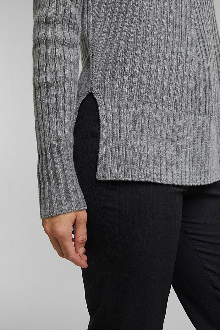 With a touch of cashmere: cotton blend jumper, GUNMETAL, detail image number 5