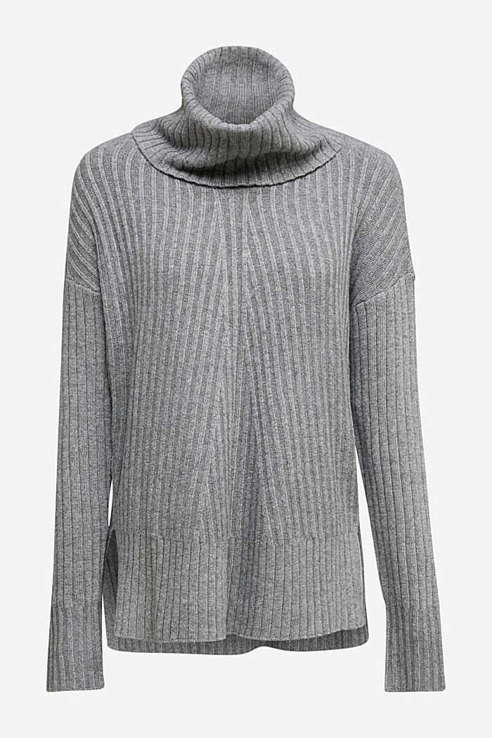 With a touch of cashmere: cotton blend jumper, GUNMETAL, detail image number 6