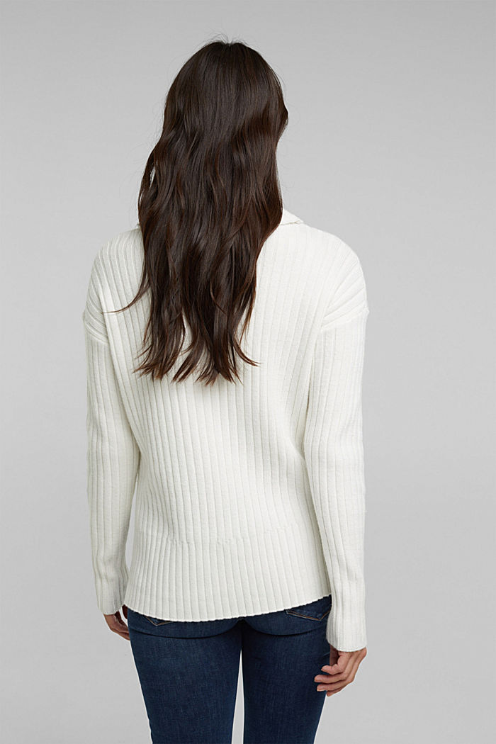 With a touch of cashmere: cotton blend jumper, OFF WHITE, detail image number 3