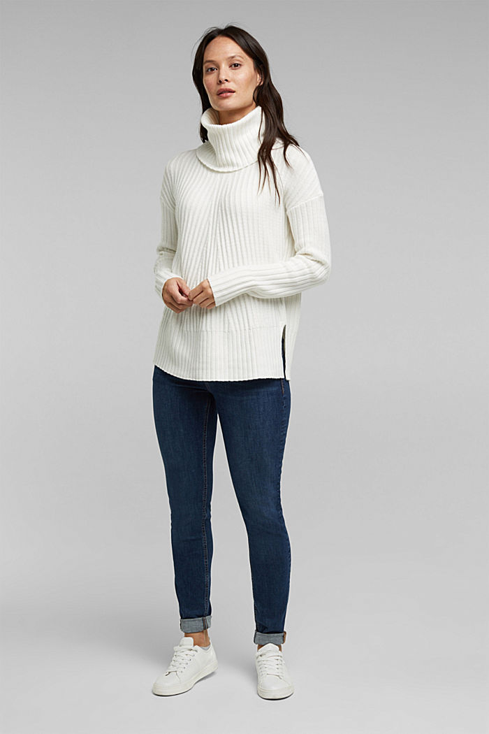 With a touch of cashmere: cotton blend jumper, OFF WHITE, detail image number 5