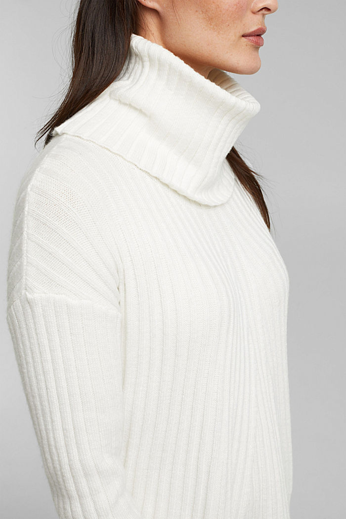 With a touch of cashmere: cotton blend jumper, OFF WHITE, detail image number 2