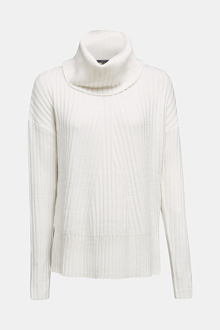 With a touch of cashmere: cotton blend jumper, OFF WHITE, detail image number 6