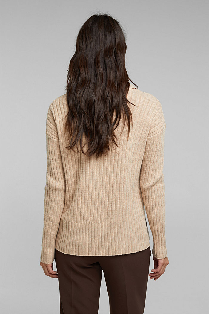 With a touch of cashmere: cotton blend jumper, BEIGE, detail image number 3