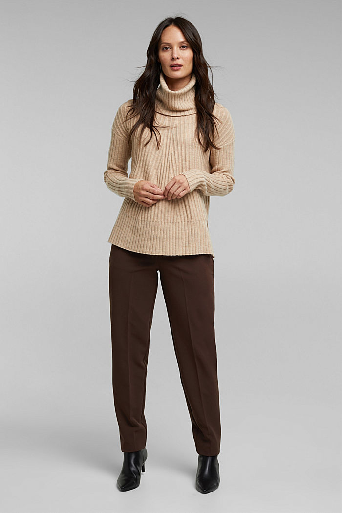 With a touch of cashmere: cotton blend jumper, BEIGE, detail image number 1