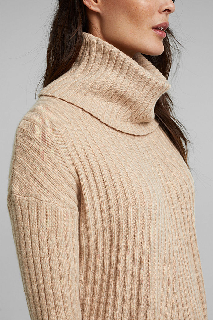 With a touch of cashmere: cotton blend jumper, BEIGE, detail image number 2