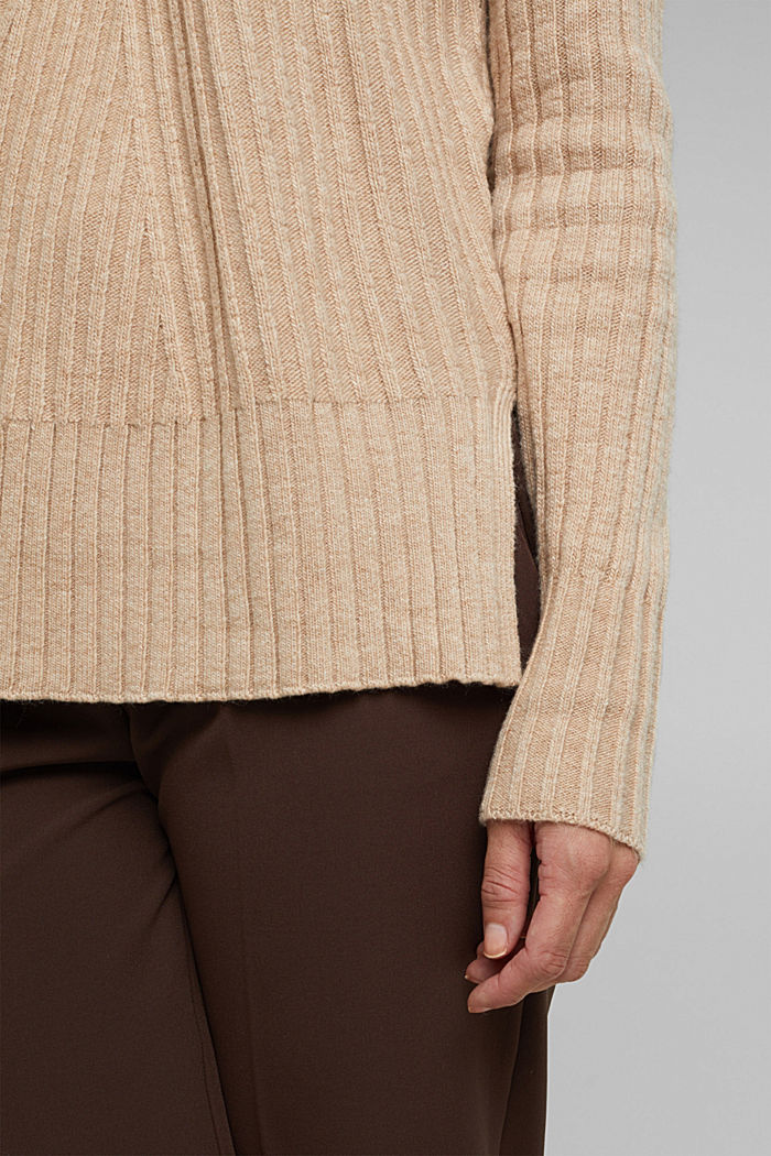 With a touch of cashmere: cotton blend jumper, BEIGE, detail image number 5