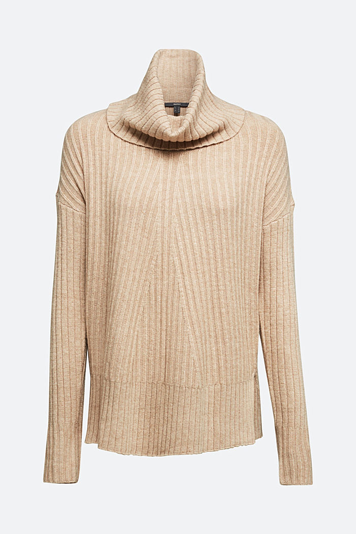 With a touch of cashmere: cotton blend jumper, BEIGE, detail image number 6