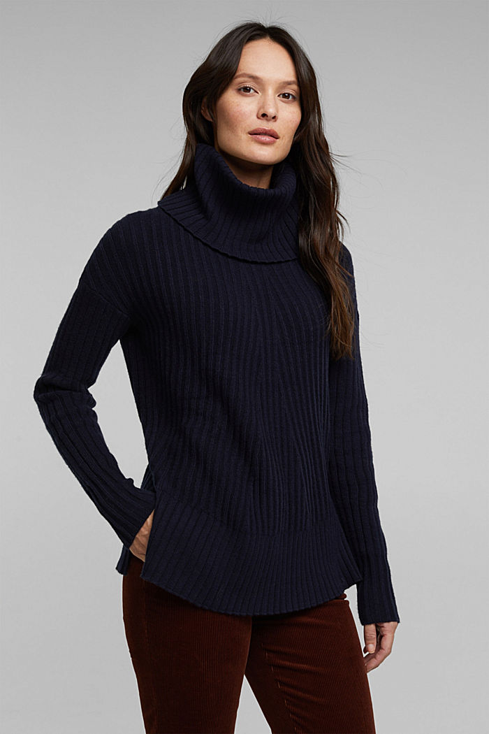 With a touch of cashmere: cotton blend jumper, NAVY, detail image number 0