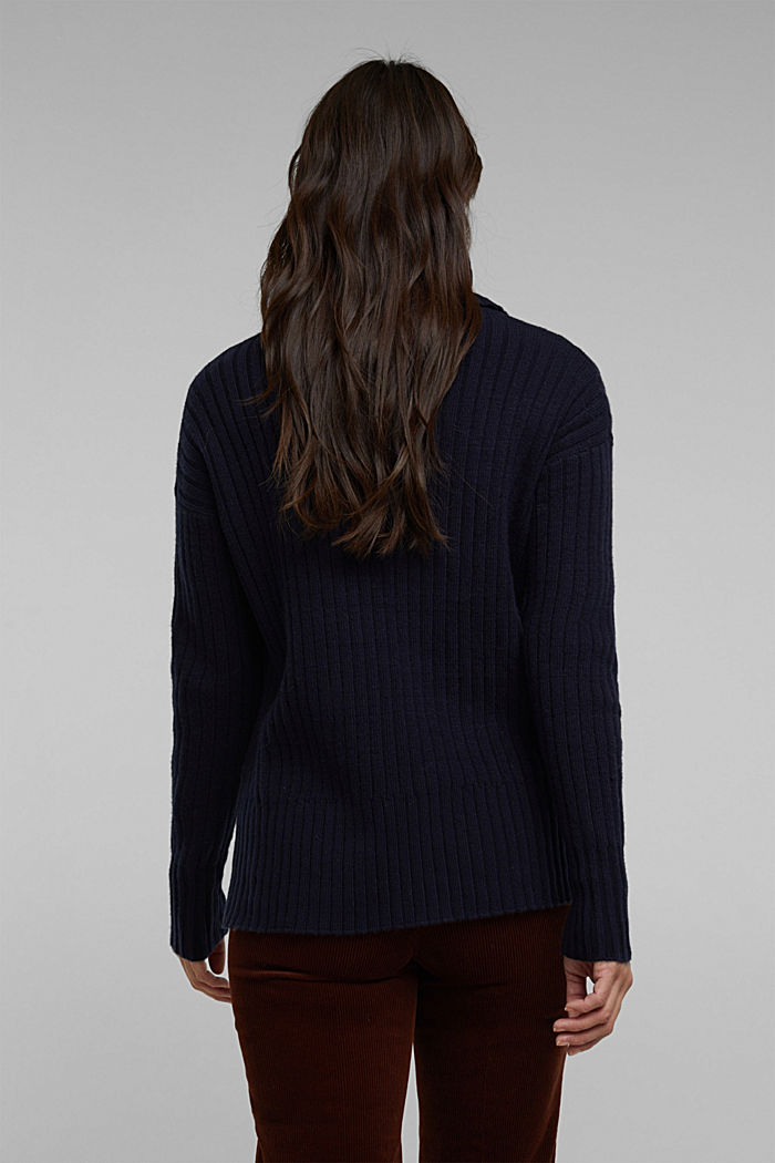With a touch of cashmere: cotton blend jumper, NAVY, detail image number 3