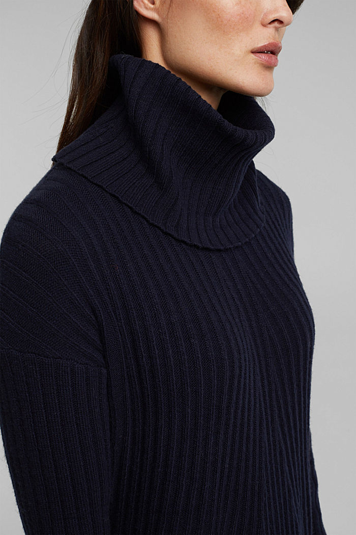 With a touch of cashmere: cotton blend jumper, NAVY, detail image number 2