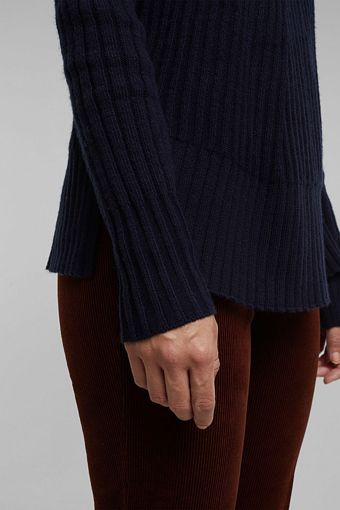 With a touch of cashmere: cotton blend jumper, NAVY, detail image number 5