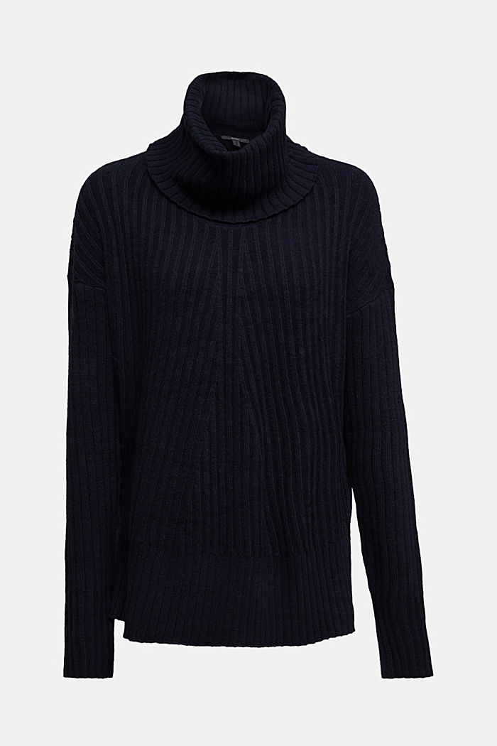With a touch of cashmere: cotton blend jumper, NAVY, detail image number 6