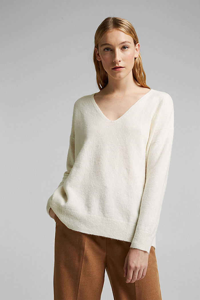 With wool and llama: V-neck jumper, OFF WHITE, detail image number 0