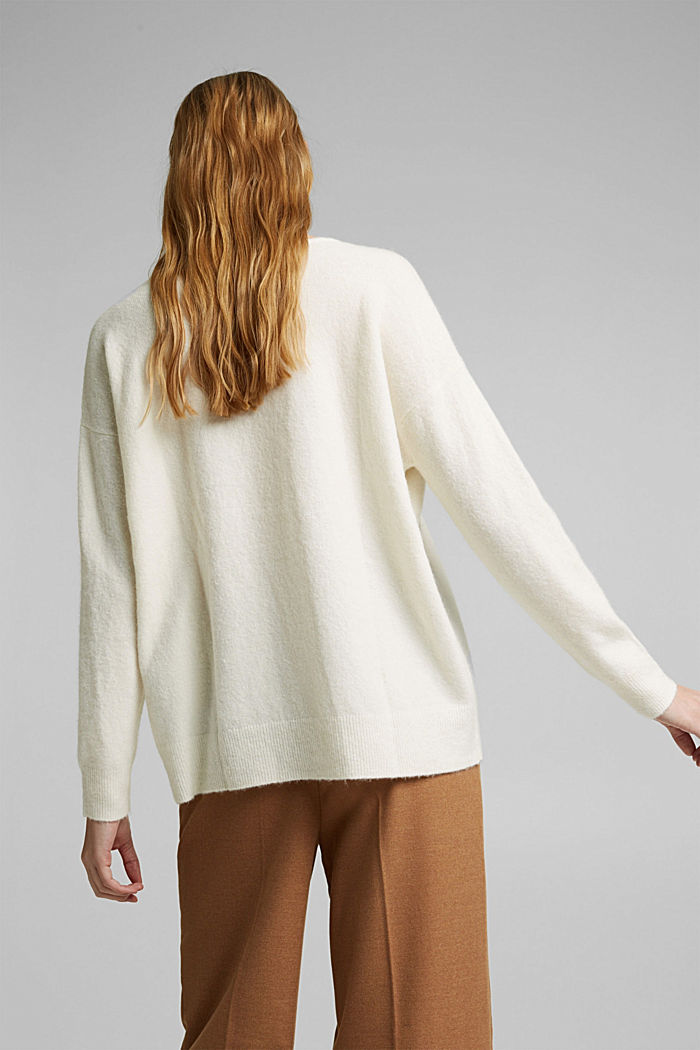 With wool and llama: V-neck jumper, OFF WHITE, detail image number 3