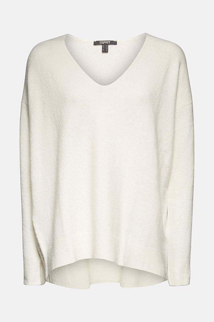 With wool and llama: V-neck jumper, OFF WHITE, detail image number 5