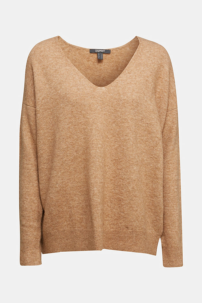 With wool and llama: V-neck jumper, BEIGE, detail image number 7
