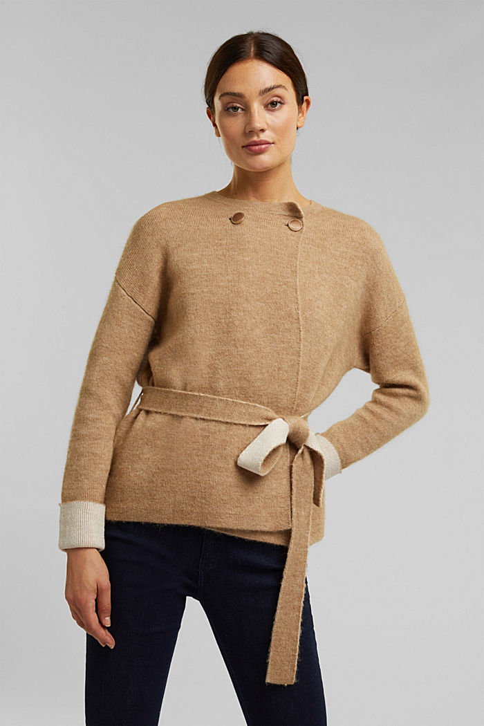 Wool blend: cardigan with a belt, SAND, detail image number 0