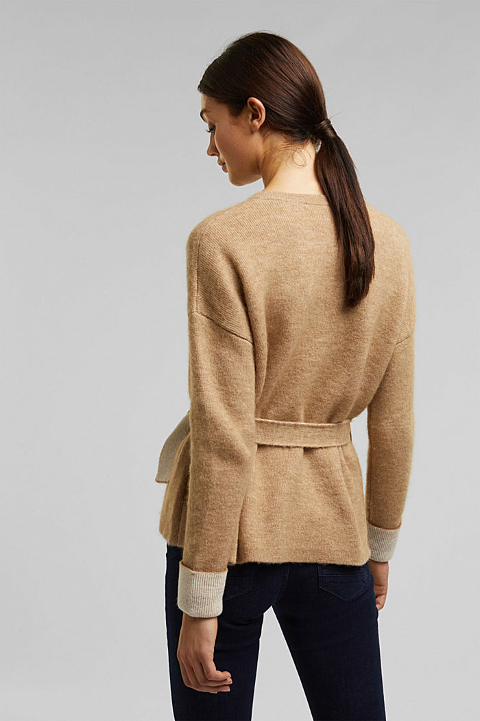Wool blend: cardigan with a belt, SAND, detail image number 3