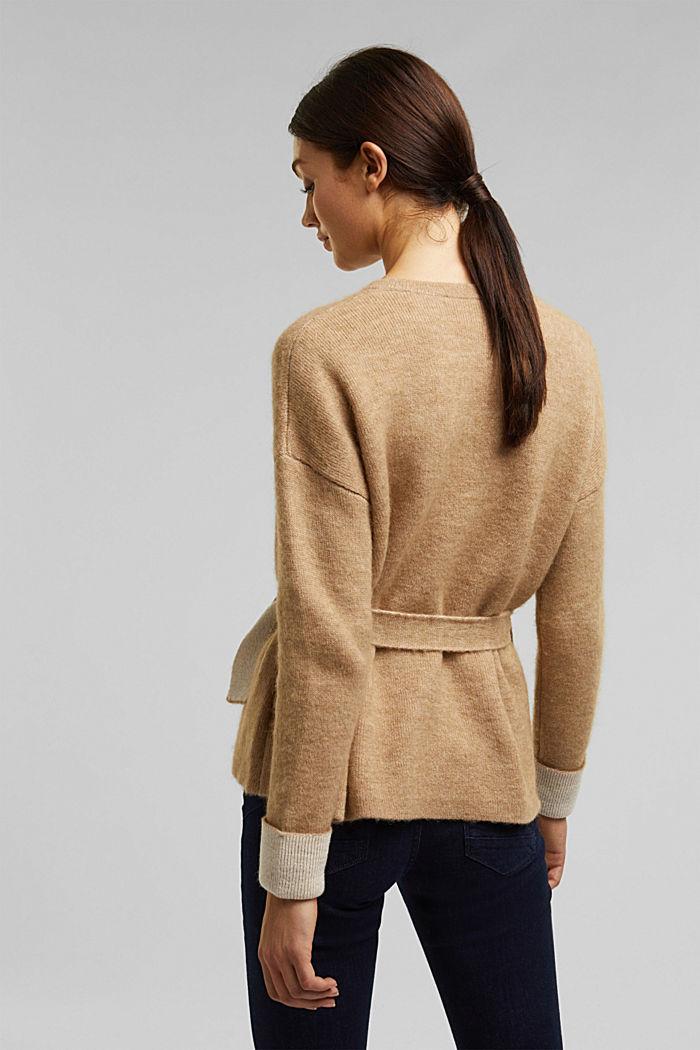 Met wol: vest met ceintuur, SAND, detail image number 3