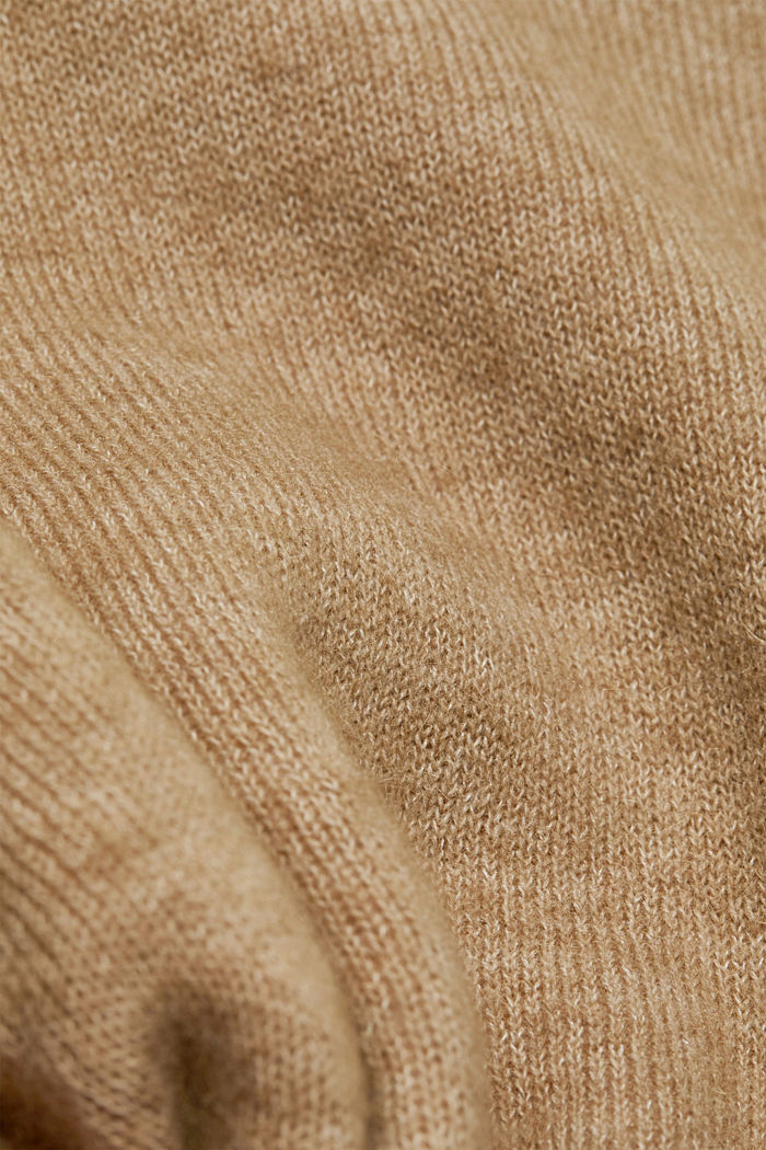 Wool blend: cardigan with a belt, SAND, detail image number 4
