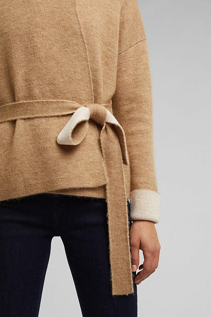 Met wol: vest met ceintuur, SAND, detail image number 5