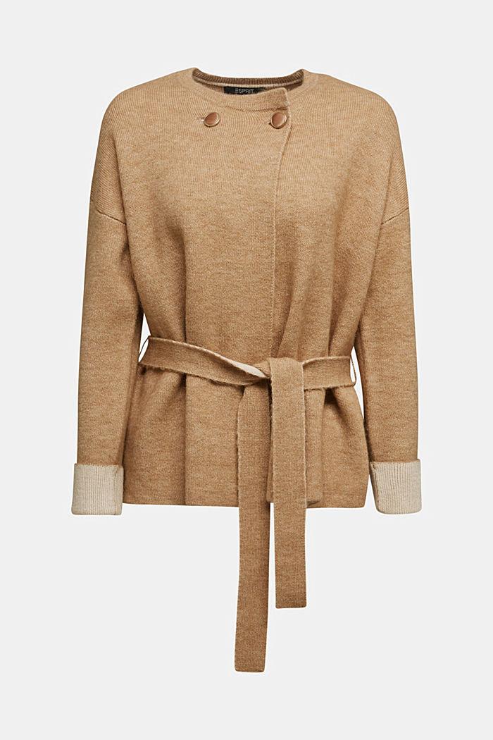 Met wol: vest met ceintuur