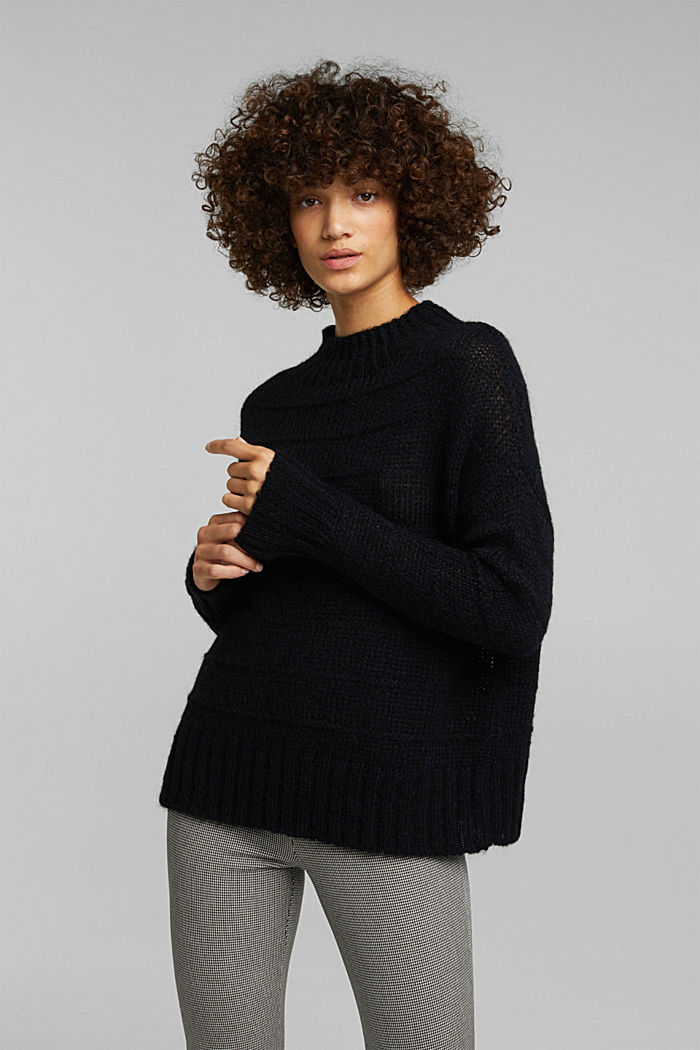 With wool and alpaca: textured jumper, BLACK, detail image number 0