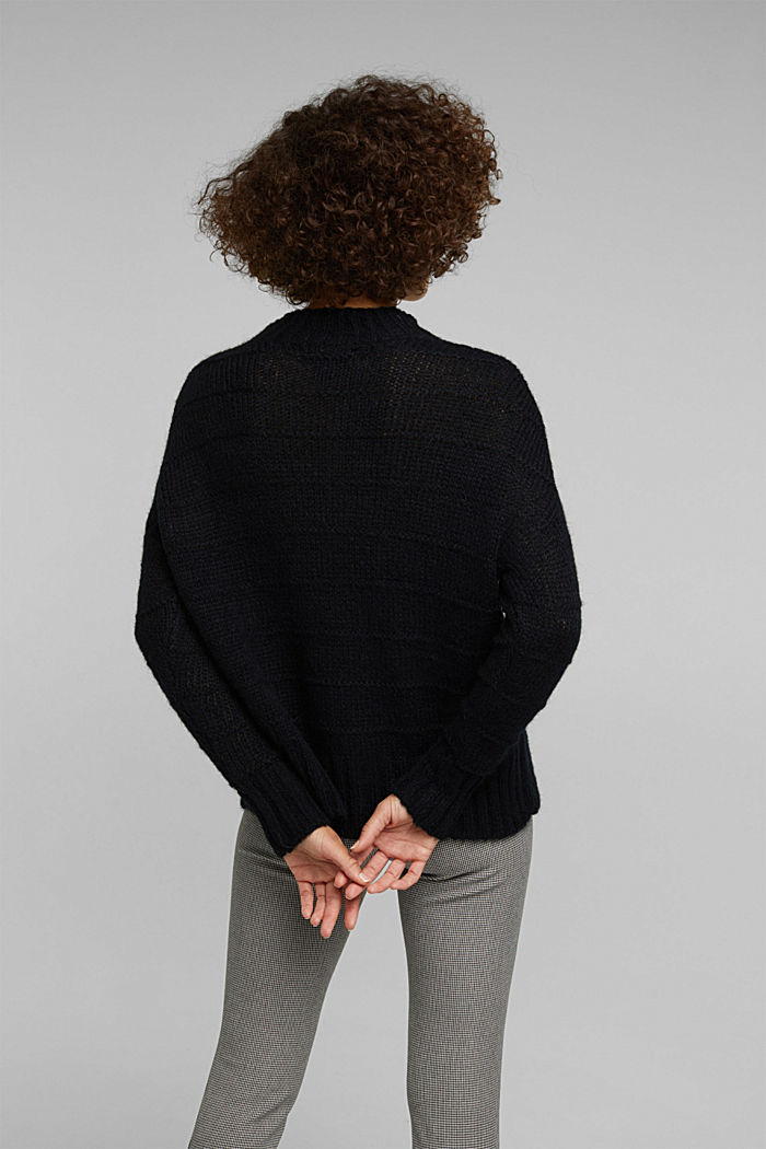 With wool and alpaca: textured jumper, BLACK, detail image number 3