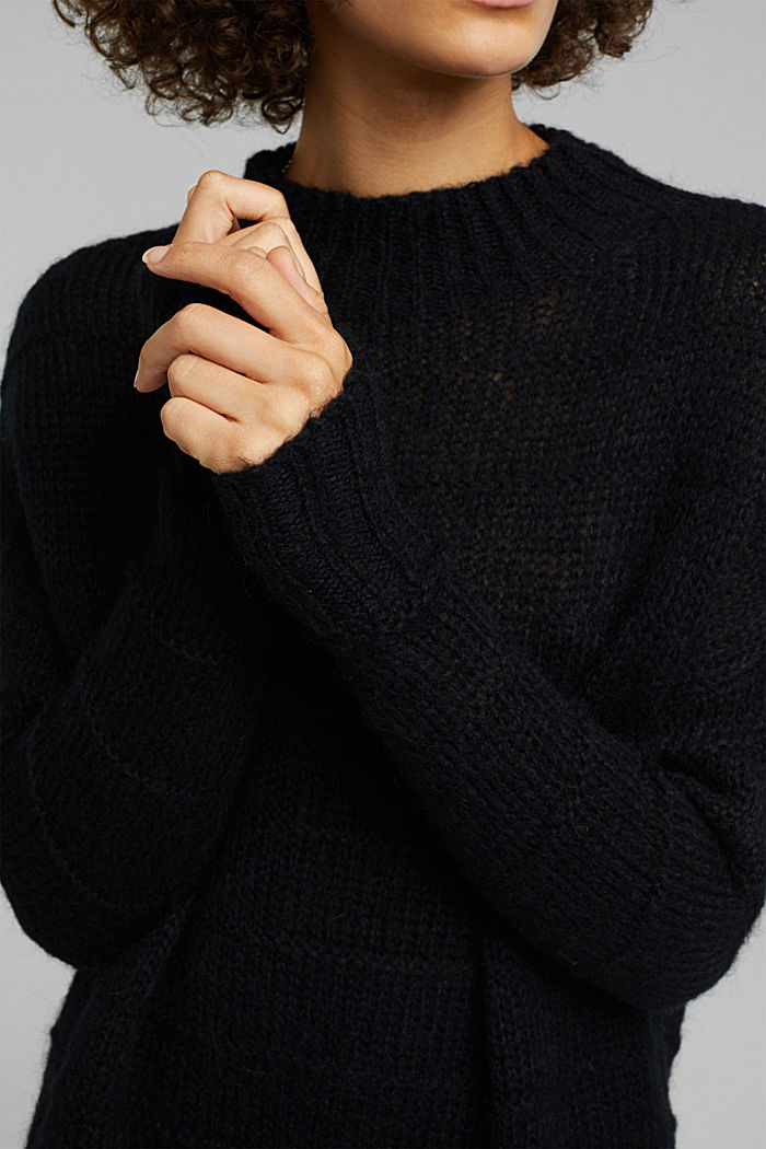 With wool and alpaca: textured jumper, BLACK, detail image number 2