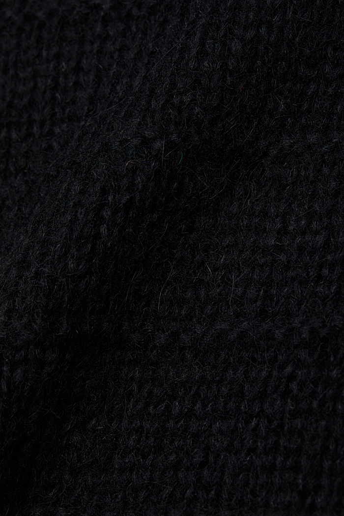 With wool and alpaca: textured jumper, BLACK, detail image number 4