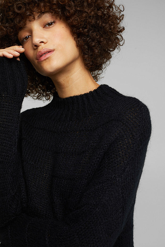 With wool and alpaca: textured jumper, BLACK, detail image number 5