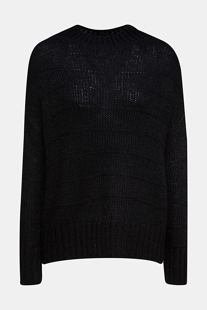 With wool and alpaca: textured jumper, BLACK, detail image number 6