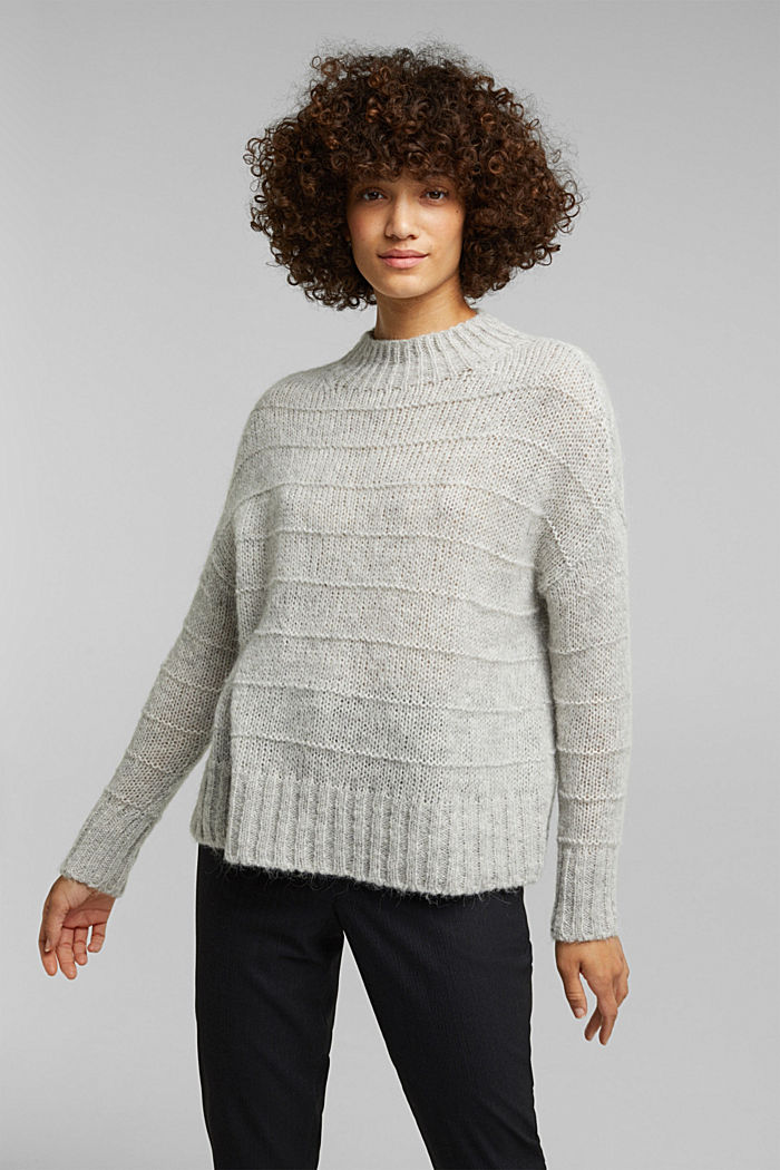 With wool and alpaca: textured jumper, LIGHT GREY, detail image number 0