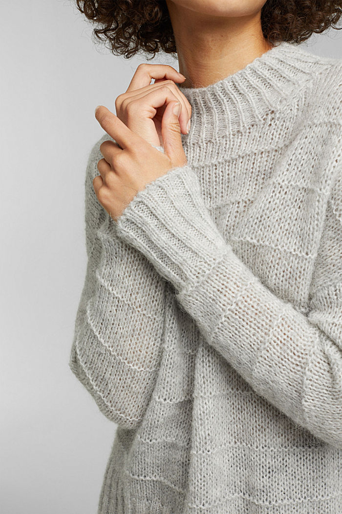 With wool and alpaca: textured jumper, LIGHT GREY, detail image number 2